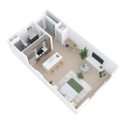 Studio Floor Plan at The Q Variel, Woodland Hills, 91367