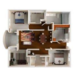 Floor Plan  Villa Sofia 2Bed 2Bath B Virtual Rendering Floor Plan