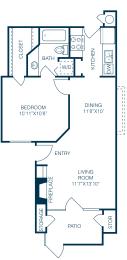 Floor Plan  Trellis at Lake Highlands 1 Bedroom  1 Bath A1 Floorplan