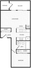 Floor Plan 1 Bed 1 Bath  11A