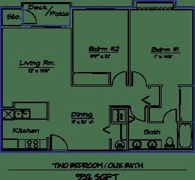 Floor Plan 2 Bed 1 Bath  21A