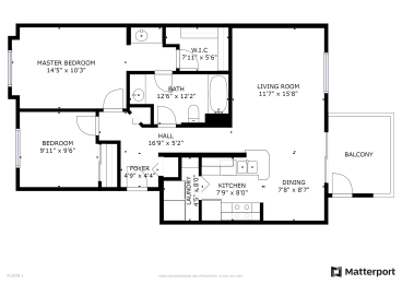 Floor Plan 2 Bed, 1 Bath B60