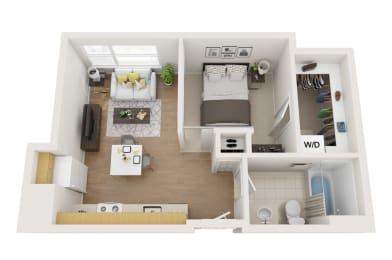 Floor Plan 1 bed, 1 Bath Open O1M