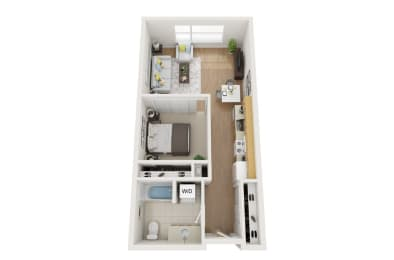Floor Plan 1 bed, 1 Bath Open O3