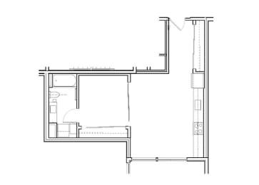 Floor Plan Open 1 Bed, 1 Bath O2