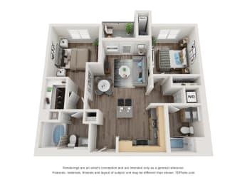 2 Bed 2 Bath Floor Plan at 1724 Highland, California, 90028