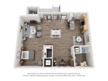 D2 Floor Plan at 1724 Highland, Los Angeles, CA, 90028