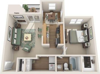 1 Bedroom floor plan in plano apartments