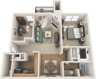 1 Bedroom floor plan with den in plano apartments