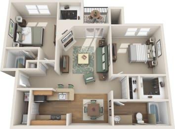 2 Bedroom floor plan in plano apartments