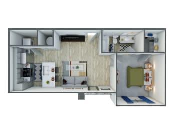 one bedroom one bathroom floor plan options  in our luxury apartments in midland