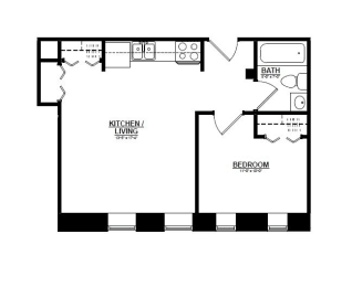 1 Bedroom G 1 Bath Floor Plan at The Argyle on Mass Ave, Indianapolis