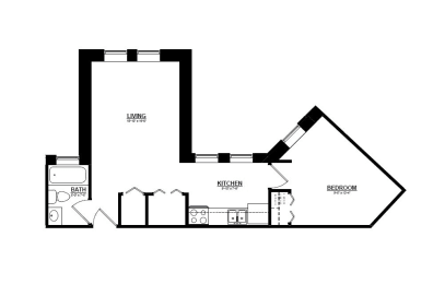 1 Bedroom E 1 Bath Floor Plan at The Argyle on Mass Ave, Indianapolis, 46202