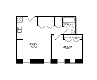 1 Bedroom D 1 Bath Floor Plan at The Argyle on Mass Ave, Indianapolis, IN