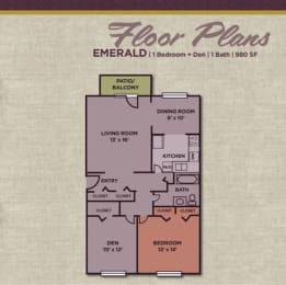 1 Bedroom 1 Bath Floor Plan at Gramercy, Carmel, 46032
