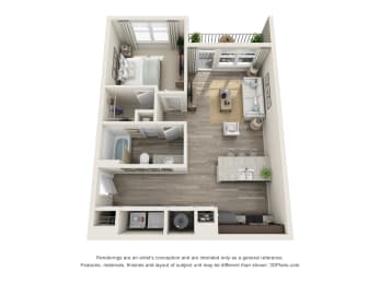 Slate floor plan at Whetstone featuring one bedroom and one bathroom