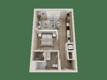 One bedroom floor plan l Alira Apartments in Sacramento Ca