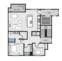 Floor Plan  2c2 floor plan 1100 sqft