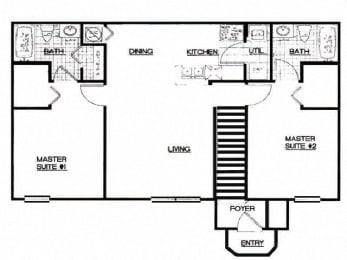2 Bed, 2 Bath, 1000 sq. ft. 2 Bedroom Thoroughbred floor plan