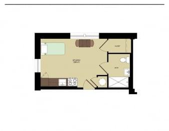Studio  348 sq ft Studio floorplan