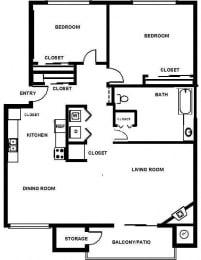 2 Bed, 1 Bath, 1024 sq. ft. B1.2
