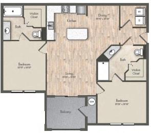 2 Bed - 2 Bath  990 sq ft floorplan