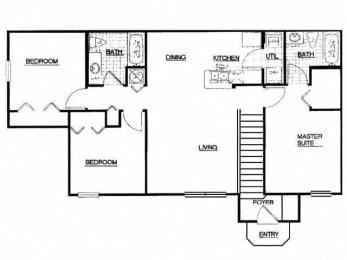 3 Bed, 2 Bath, 1120 sq. ft. 3 Bedroom Appaloosa floor plan