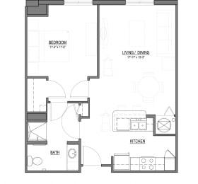 A1-A 1 Bed - 1 Bath  693 sq ft floorplan