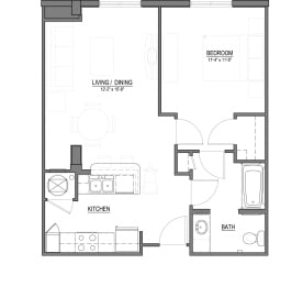 A1-C 1 Bed - 1 Bath  695 sq ft floorplan