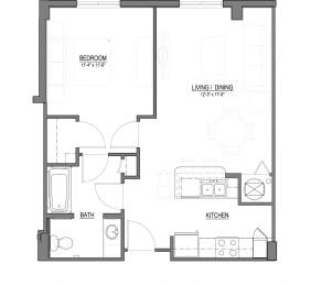 A1-F 1 Bed - 1 Bath  688 sq ft floorplan