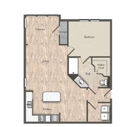 1 Bed - 1 Bath  820 sq ft floorplan
