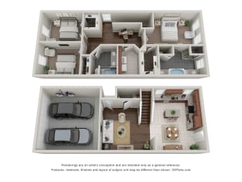 3 Bed 2.5 Bath Floor Plan at Addicks Stone Village, Houston, TX