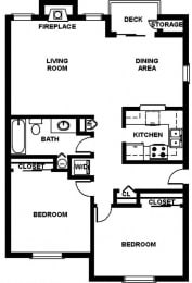 2 Bed, 1 Bath, 1024 sq. ft. B1