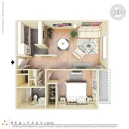 1 Bed, 1 Bath, 640 square feet floor plan Regular One Bedroom 3D furnished
