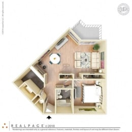 1 Bed, 1 Bath, 625 square feet floor plan Small One Bedroom 3D furnished