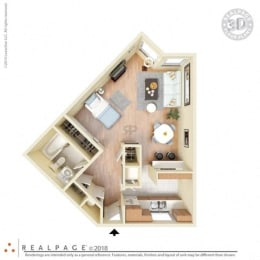 Studio, 501 square feet floor plan 3D furnished