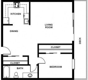 1 Bed 1 Bath 858 square feet floor plan furnished
