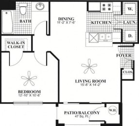 Floor Plan  1 bed 1 Bath 615 square feet Comfort floor plan