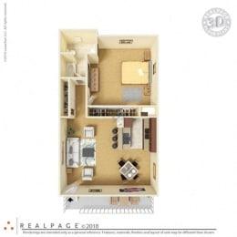 1 Bed, 1 Bath, 704 square feet floor plan Jr. 3d  furnished