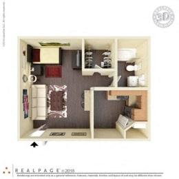 1 Bed, 1 Bath, 414 square feet floor plan Studio 3d furnished