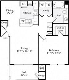 Floor Plan  1 Bed 1 Bath 728 square feet floor plan Plan A