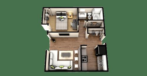 Floor Plan 1 Bedroom 1 Bath - Classic