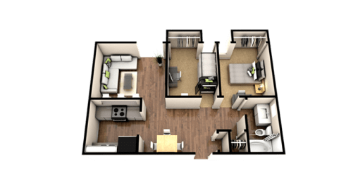 Floor Plan 2 Bedroom 1 Bath - Classic
