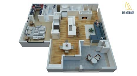 1 Bed - 1 Bath, 842 sq ft B - Waterview floor plan