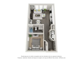 1 Bed 1 Bath 655 square feet floor plan Mills 3d furnished