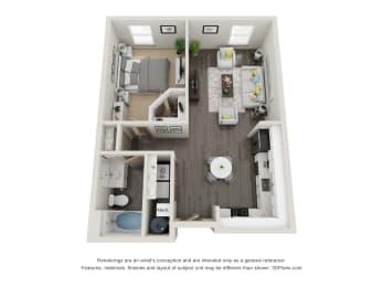 1 Bed 1 Bath 734 square feet floor plan Gozoa 3d furnished