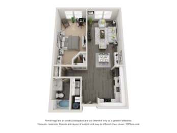 1 Bed 1 Bath 893 square feet floor plan Doux  3d furnished