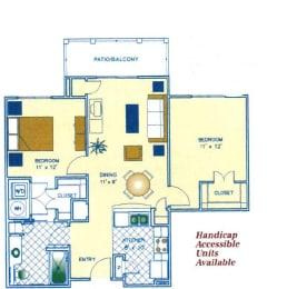 2 Bed - 1 Bath |912 sq ft floorplan