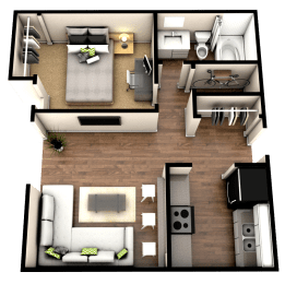Floor Plan 1 Bedroom 1 Bath - Renovated