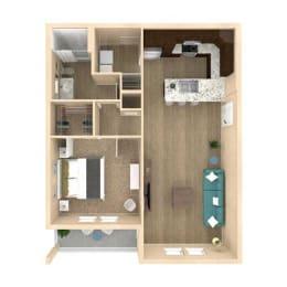 3d 1 Bed 1 Bath 824 square feet floor plan Horizon